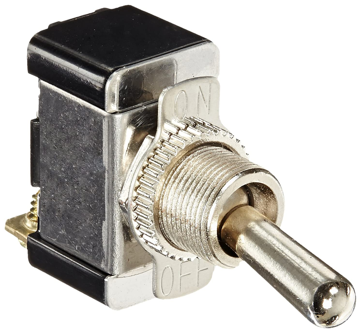 Toggle Switch, Maintained Contact and Single Pole, On Off Circut Function, SPST, Brass/Nickel Actuator, 20/10 amps at 125/250 VAC, Screw Connection