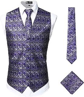 ZEROYAA Mens Classic 3pc Jacquard Paisley Vest Set Suit Tuxedo Necktie,Pocket Square