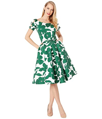 Unique Vintage 1950s Bow Sleeve Selma Swing Dress (White/Green Floral) Women