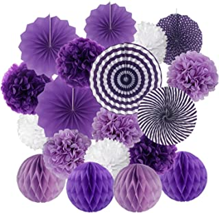 Hanging Paper Fan Set, Cocodeko Tissue Paper Pom Poms Flower Fan and Honeycomb Balls for Birthday Baby Shower Wedding Festival Decorations - Purple
