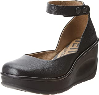 FLY London Womens Jody Mousse Ankle Strap Leather Wedge Closed Toe Shoes