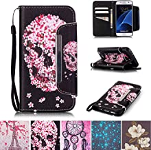 Galaxy S7 Case, Kickstand Flip [Card Slots] Wallet Cover Double Layer Bumper Shell with Magnetic Closure Strap Protective Case for Samsung Galaxy S7- Skull