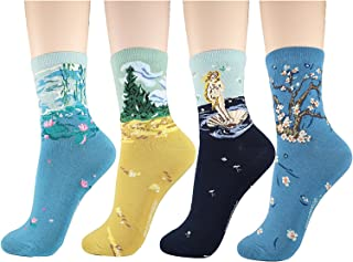 Women's Cute Fun Crew Cotton Cat Dog Socks 4-6 Pack, Gift Ideas for Cat Animal Lovers