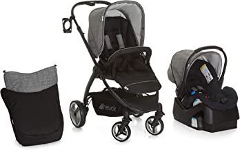 Hauck Polo Travel System with Infant Car Seat and Base, Lightweight Stroller with Reversible Seat Unit, Boot Cover, Height-Adjustable Handle and Cup Holder, Small Folding Stroller, Melange Grey