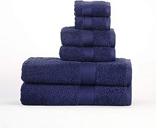 Superior Organic Cotton Solid 6 Piece Towel Set, 6PC, Navy Blue