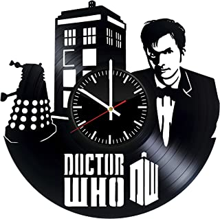 Fun Door Doctor Who Handmade Vinyl Record Wall Clock for Birthday Wedding Anniversary Valentine's Mother's Ideas for Men and Women him and her