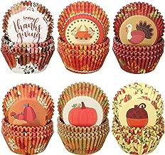 600 Pieces Thanksgiving Cupcake Liners Pumpkin Turkey Maple Leaf Cupcake Baking Cups Thanksgiving Muffin Liners Paper Baki...