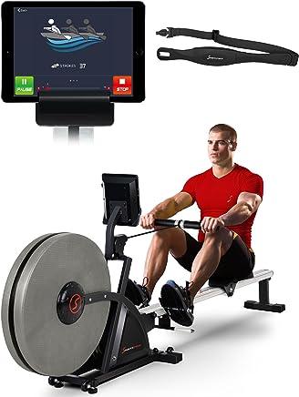 Sportstech RSX600 Máquina de Remo Profesional Aire Magnético Accionamiento Smartphone Control App 12 programas 16 Niveles Resistencia Cinta de Pulso del Valor de 39,90€ incluida - con Kinomap