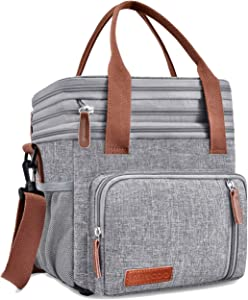 Insulated Lunch Bags for Women Men Large Lunch Box Leakproof Cooler Tote Bag MIYCOO (15L) (Grey)
