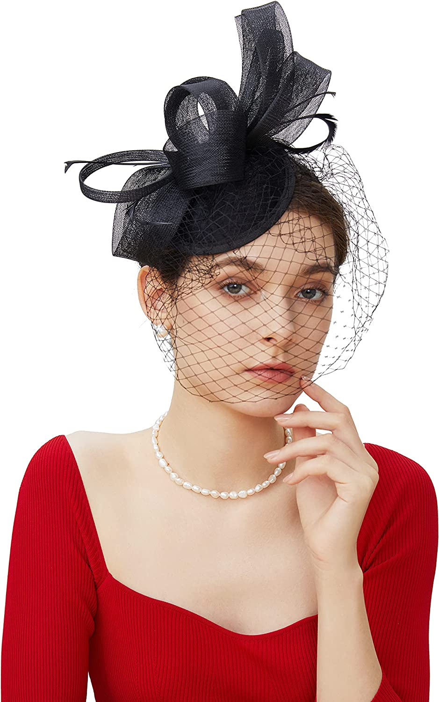 BABEYOND Veil Fascinator Hat for San Jose Mall Derby Tea Kentucky Great interest Party Women