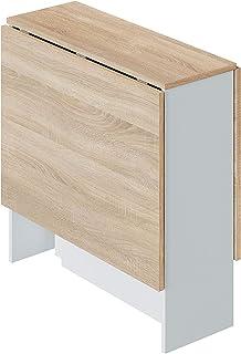 Mesa Auxiliar con Alas Abatibles, Mesa Cocina, Acabado en Color Blanco Artik y Roble Canadian, Modelo Fly, Medidas: 77 cm...