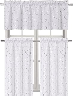 GoodGram Metallic Foil Lattice Kitchen Curtain Tier & Valance Set - Assorted Colors (Silver)