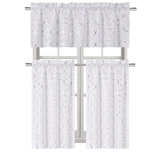 White Kitchen Curtains and Valances Set: Amazon.com
