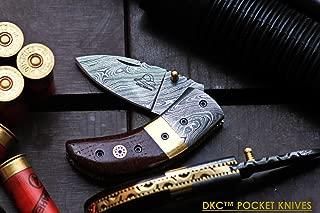 DKC Knives Sale DKC-43-BR-DS Brown Thumb Damascus Steel Folding Pocket Knife 3.5