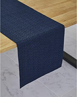 Solino Home Jacquard Linen Table Runner - 14 x 108 Inch, Blue - 100% Natural Fabric, Machine Washable Handcrafted from European Flax