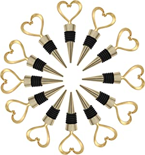 24PCS Wedding Favor for Guests Wine Bottle Stoppers, Beverage Bottle Stoppers, Wedding Gifts for Guests for Party Supply Baby Shower Bridal Shower Favors by WeddParty (Gold Heart, 24)