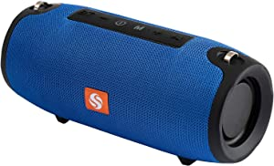 SilverOnyx Portable Bluetooth Speaker, Wireless, Ipx5 Waterproof Speakers, Extra Loud Crystal Clear Stereo Sound, Subwoofer, Built-in Mic, for Home, Outdoors, Shower, Travel - Blue