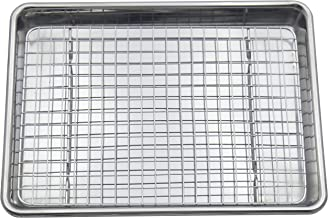 Checkered Chef Stainless Steel Quarter Sheet Pan and Rack Set - 9.5 x 13 inches - Heavy Duty Non Warping ¼ Baking Sheet Pa...