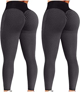 ReooLy Women 2PC Butt Lifting Leggings with Pocket, High Waisted Bubble Hip Lift Yoga Pant Honeycomb Yoga Running Leggings...