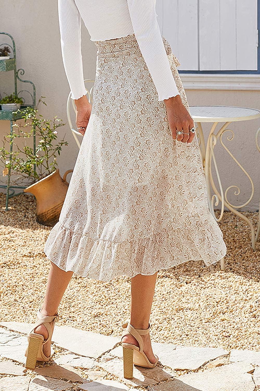 Buy Zojuyozio Women Boho Skirt Summer Tie Up Waist Wrap Split ...