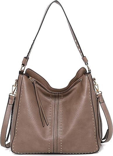 Montana West Large Leather Hobo Handbag for Women Concealed Carry Studded Shoulder Bag Crossbody Purse