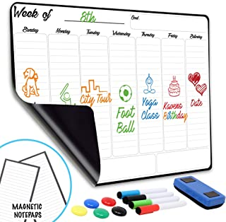 """Weekly Dry Erase Board Magnetic Calendar   13"""" x 17"""" Magnetic White Board for Fridge & Wall, No GHOSTING  Includes Free Ma..."""