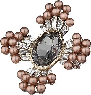 SINCERA® Spilla Sincera da donna elegante con perle con cristalli Swarovski placcata in oro 18 carati 02-19540