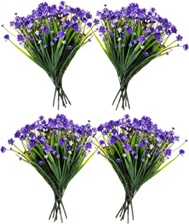 Red Co. Faux Floral Bouquet, Artificial Fake Greenery Flowers for Home and Outdoor Garden Decor, Set of 4 Bunches (6 Picks Each), Spring Purple