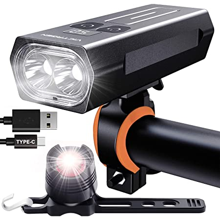 victagen Bike Light,Bike Headlight &Tail Light,Runtime 6+ Hours 2400 Lumens Type C-USB Rechargeable Front Lights and Free Rear Light, 5 Light Modes Fits All Bikes Mountain Road Bike,Bicycles Cycling