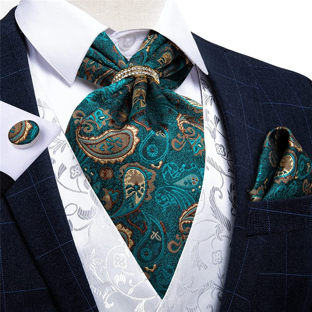 LQGSYT Silk Tie Set Teal Green Gold Men Wedding Formal Necktie Self British Style Gentleman Cravat (Color : Gold Ring, Size : One Size)