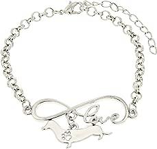 Best Dog Mom Ever Love Infinity Dog Paw Silhouette Charm Bracelet Silver-Tone Bracelet Jewelry Box