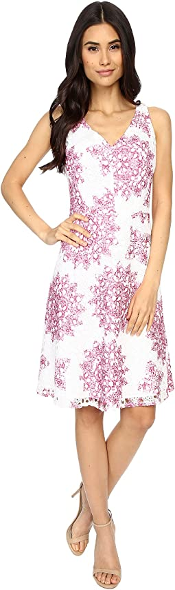 Star Medallion Printed Lace Fit and Flare Dress