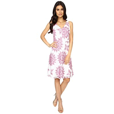Maggy London Star Medallion Printed Lace Fit and Flare Dress (White/Party Pink) Women