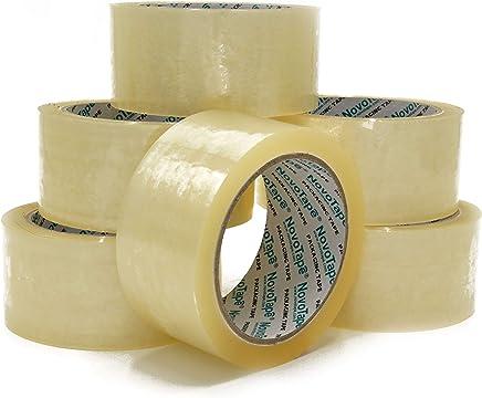 NOVOTAPE Lot de 6 Rouleaux de Rubans adhésif d'emballage 48mm x 66m, Transparent de couleur. Parfait pour fermer et sécuriser les cartons de déménagement et emballages lourd