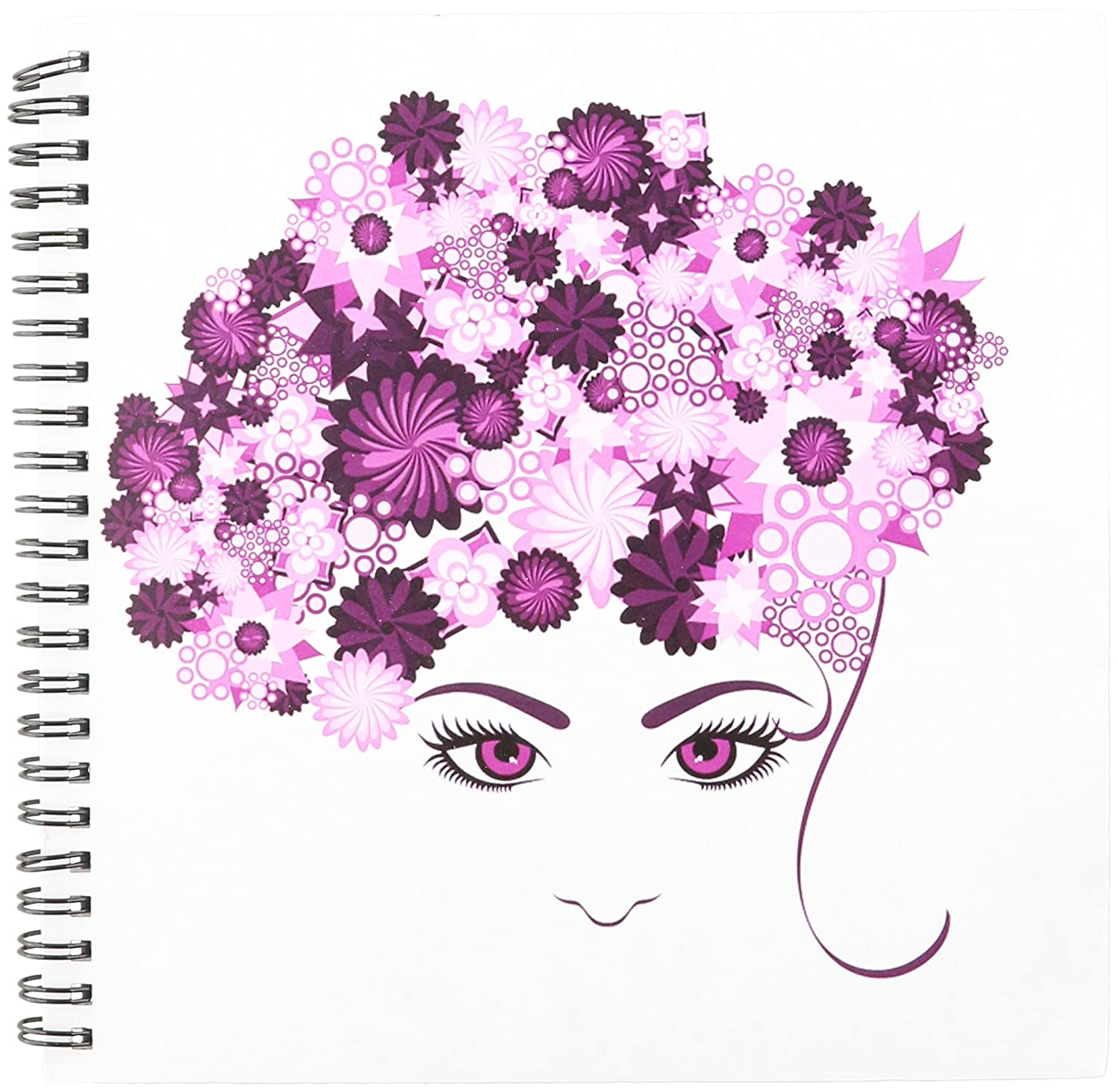 3dRose db_111586_1 A Ladies Face with Pink Flower Hair Drawing Book, 8 by 8-Inch