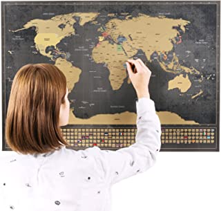 Scratchable World Map with Bonus A4 Map of The US - Remember and Share Your Adventures - Personalized Travel Tracker Poster - Unique Design by ENNO VATTI (Black - 33