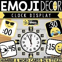 Clock Display Bulletin Board Pieces - Emoji Decor – 21 Pieces – 4 Styles