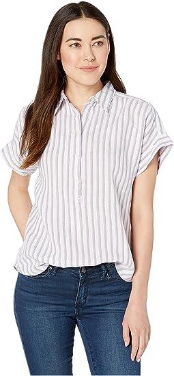 44457601 Lavendar/White. 1. LAUREN Ralph Lauren. Petite Striped Linen Shirt. $89.50.  New. Silk White Multi