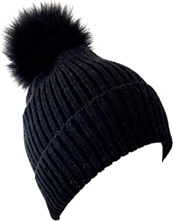 Fox Pom Knit Hat - Removable Pom Pom Fur Ski Style Hat - Warm Winter Fashion