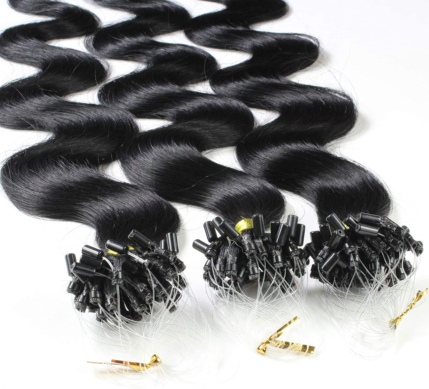 Limited time Free Shipping Cheap Bargain Gift trial price Hair2Heart 50 x 1g Microring Loop Bla #1 Extensions Colour 24
