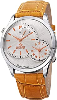 August Steiner Men's Dual Time Dress Watch - Silver Case with Textured Silver Dial and 3 Sub Dials on Light Brown Genuine ...