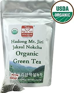 Teas Unique Korean Hadong Mt. Jiri Jaksul Nokcha Organic Green Tea, 25 Tea Bags (50g)