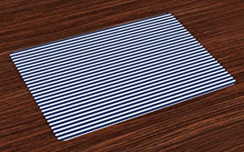 Ambesonne Blue and White Place Mats Set of 4, Yacht Navy Marine Themed Rope Stripe Pattern on Blue Toned Background, Washable Fabric Placemats for Dining Table, Standard Size, White Blue