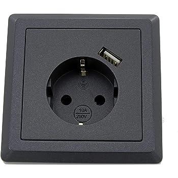 Enchufe Schuko con 1 puerto de carga USB (máx. 2,1 A) similar a grafito gris, cabe en caja empotrada.: Amazon.es: Iluminación