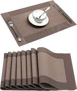 8pcs napperons en PVC napperons lavables napperons de table lavables pour table en verre table à manger pour la maison hôt...