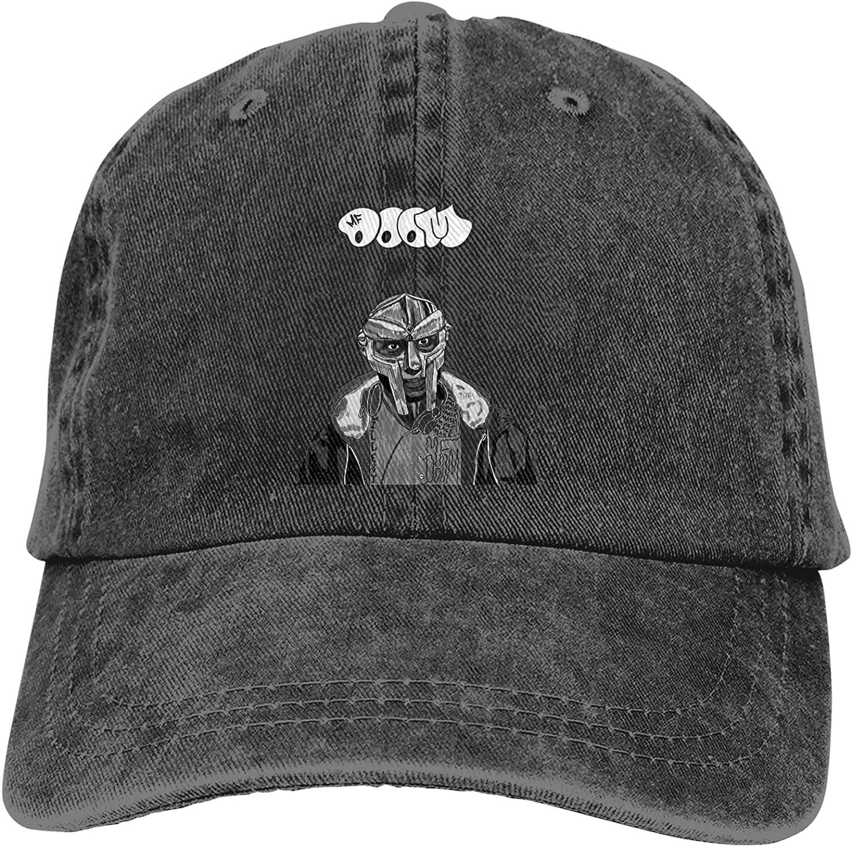 Wjnxhzwf Unisex Mf Doom Cowboy Hat Cotton Washed Denim Adjustable Baseball Hat for Outdoor Sports Casquette