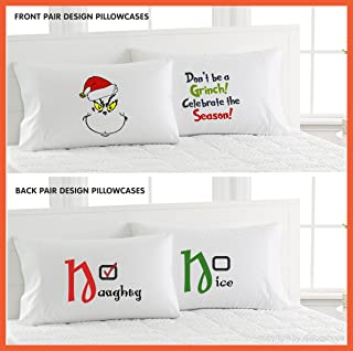 Grinch/Naughty or Nice Pillowcases-Front & Back Design Pillowcases