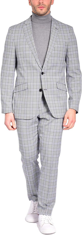 Craft & Soul Men's Slim Fit 2 Piece Jacket Pants Fancy Windowpane Plaid Pattern Suit
