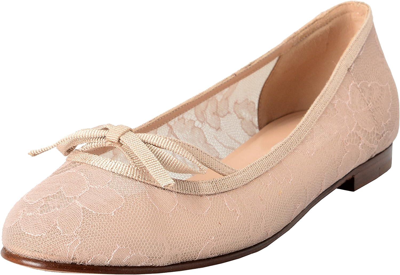 VALENTINO GARAVANI Women's Vintage Beige Lace Ballerinas Flat shoes