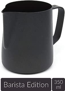 Lambda Coffee - Jarra de Leche para Barista (teflón, para espumar Leche, Acero Inoxidable, para Hacer Espuma de Leche y para Hacer Leche de Leche, con Recubrimiento de teflón, Negro, 350 ml